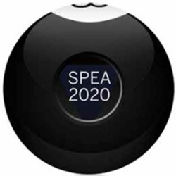An 8-ball with SPEA 2020 printed on it.