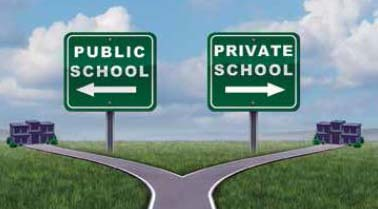 "Artist rendition of street signs reading ""public school"" and ""private school."""