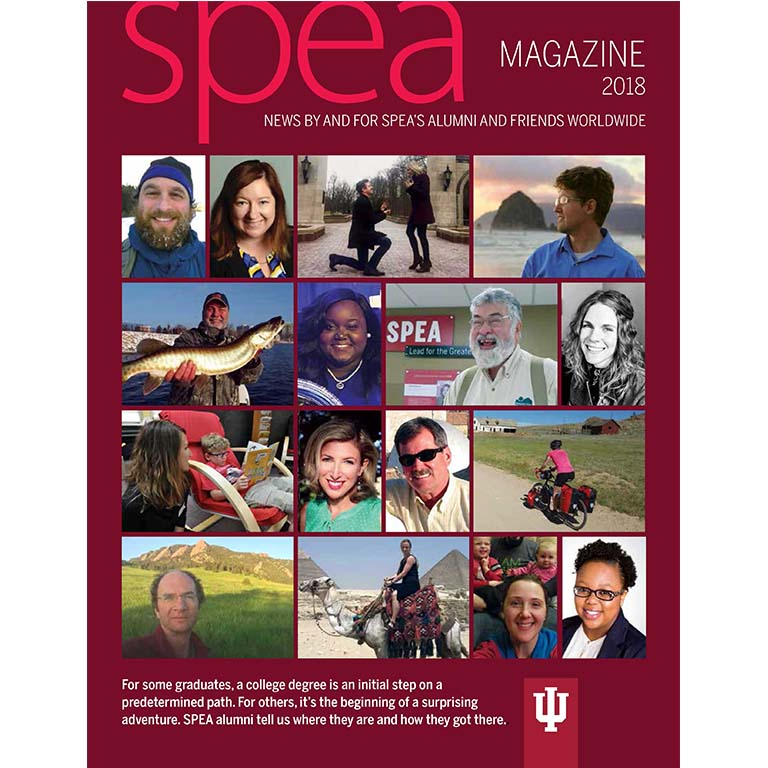 collage of faces on SPEA magazine 2018 cover